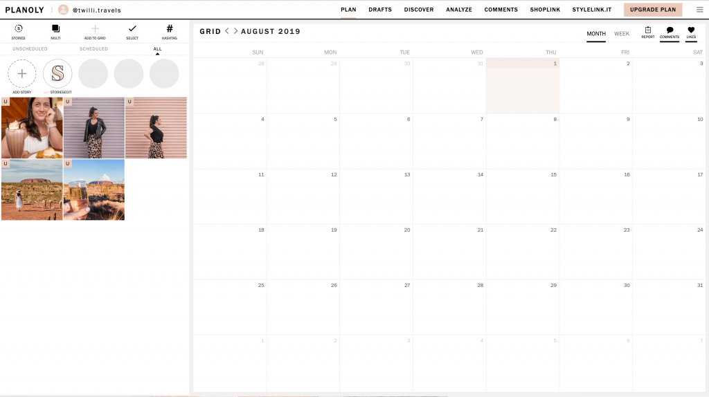 Planoly Instagram planner - desktop
