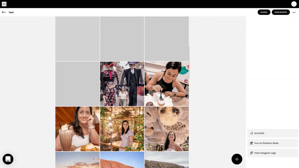 Unum Instagram feed planner for desktop