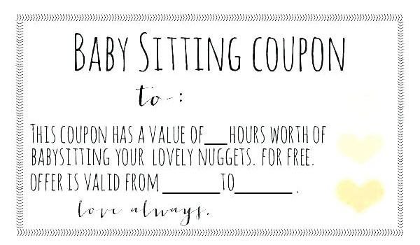 Example of a baby sitting coupon