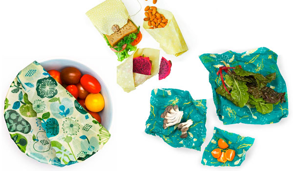 Beeswax wraps around bowls and food