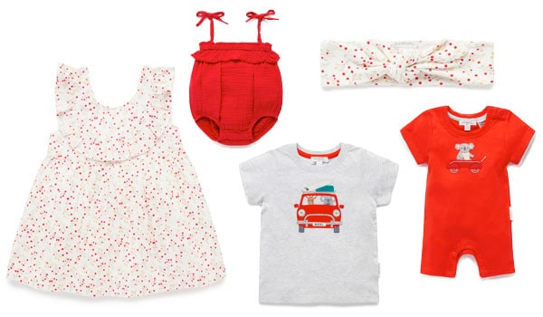 Christmas themed baby clothes in red and white
