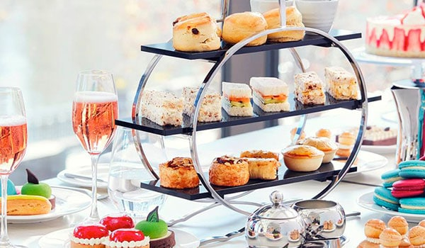 High tea food and champagne