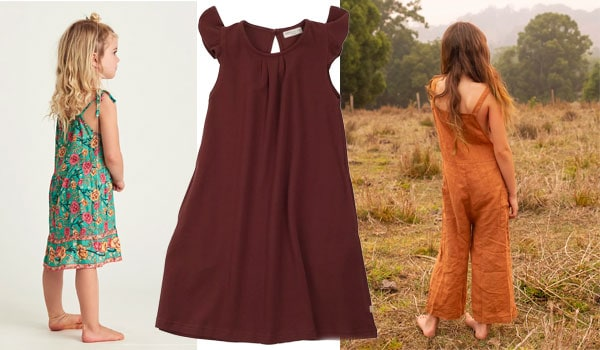3 examples of dresses and overalls for young girls