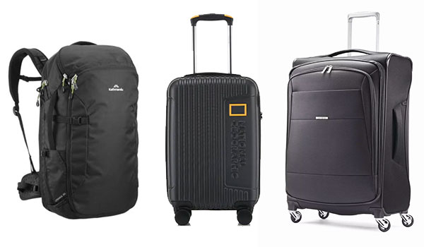 Backpack and 2 different types of spinner suitcases