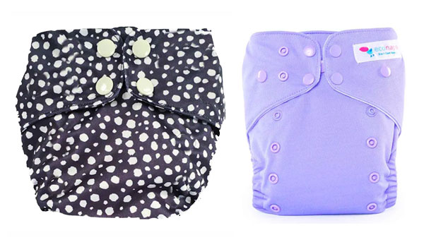 reusable, cloth nappies in black spot and purple