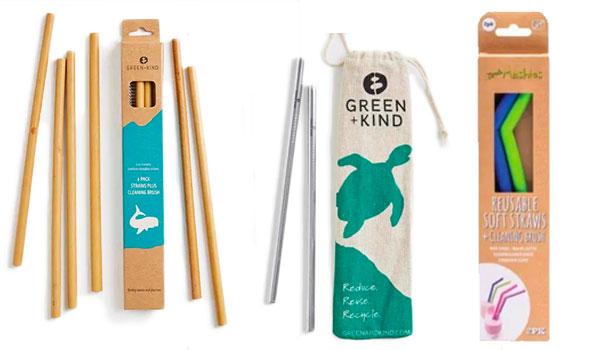 Bamboo, metal and silicone reusable straws