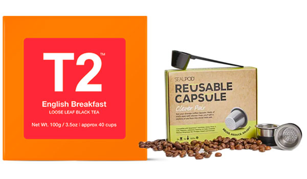 T2 tea and reusable capsule for coffee