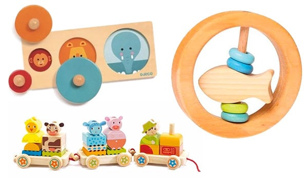 Wooden baby toys, puzzles and games