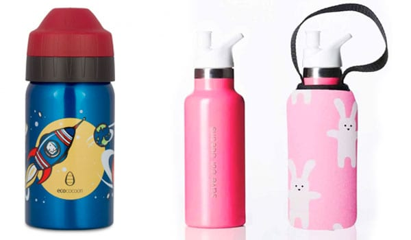 A steel water bottle with a spaceship on it. A pink water bottle with rabbit design.