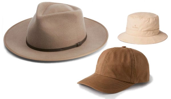 Wide brimmed and bucket hat with baseball cap.