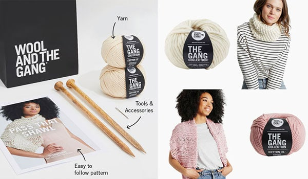 Knitting kit for scarf, knitting kit for a shawl