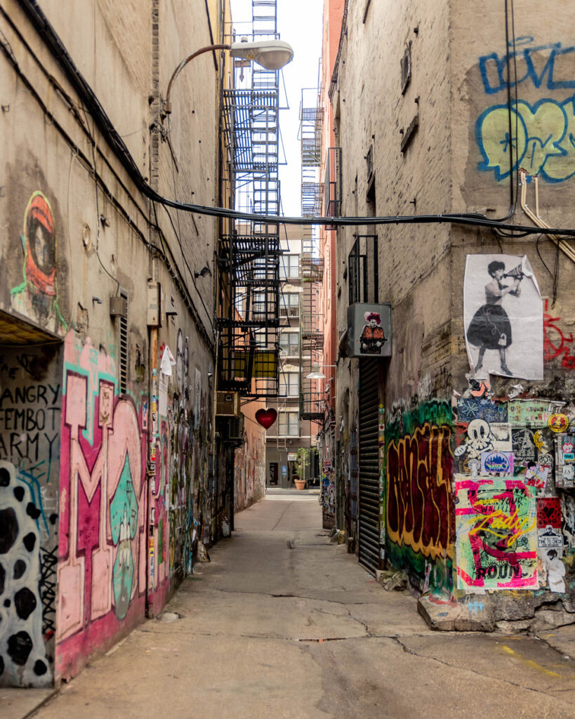 New York City alleyway with graffiti and art